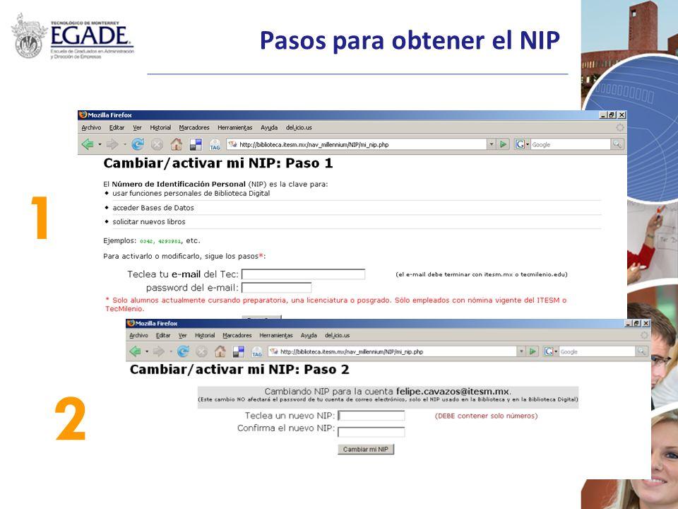 Pasos para obtener el NIP