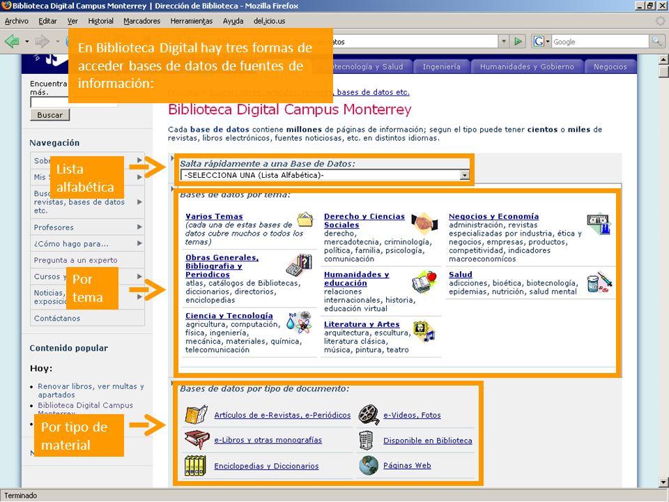En Biblioteca Digital hay tres formas de acceder bases de datos de fuentes de información: