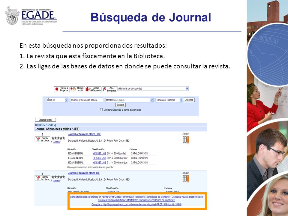Búsqueda de Journal En esta búsqueda nos proporciona dos resultados: