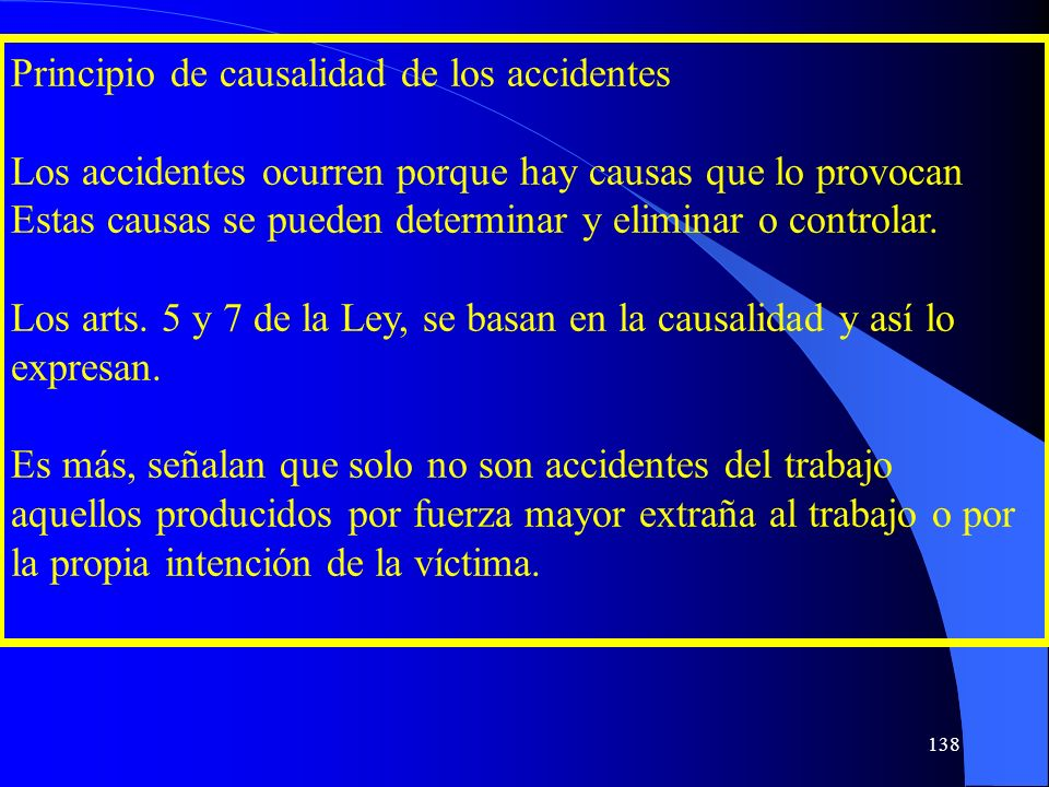 Principio de causalidad de los accidentes