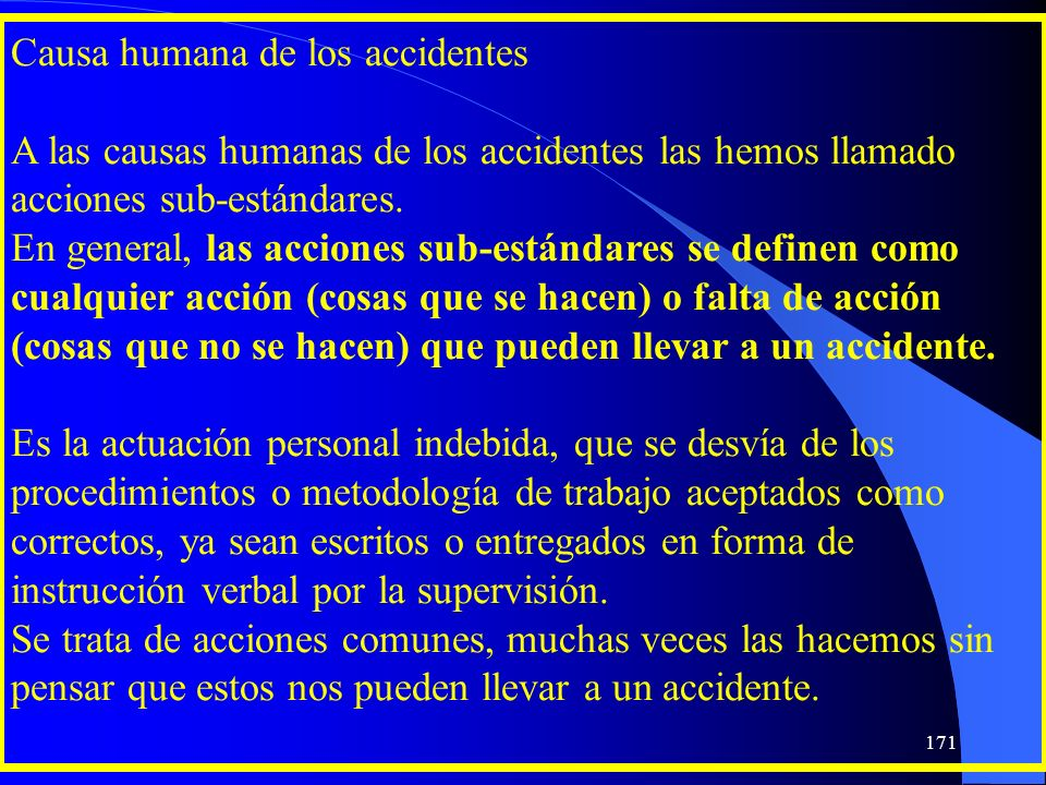 Causa humana de los accidentes