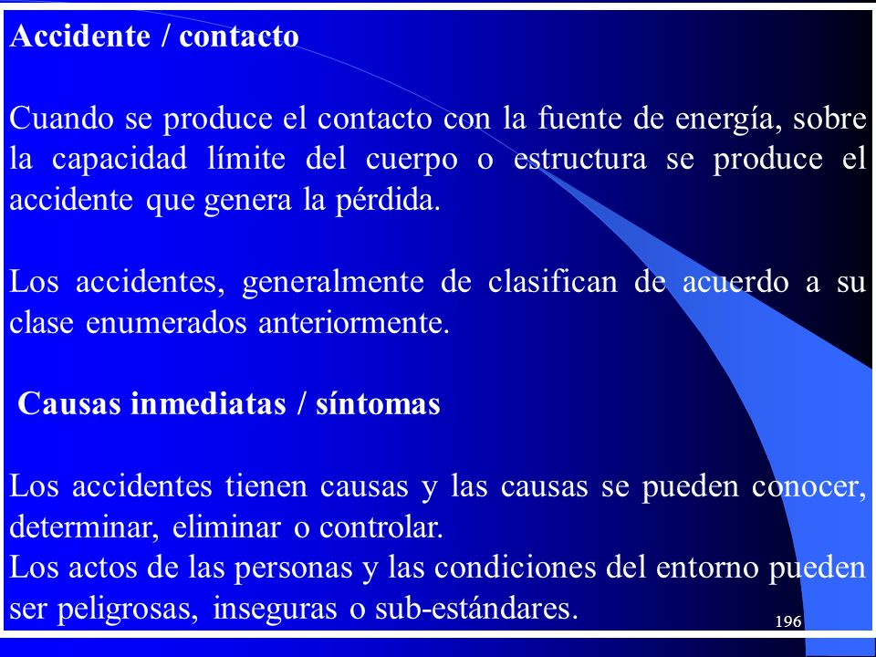 Accidente / contacto