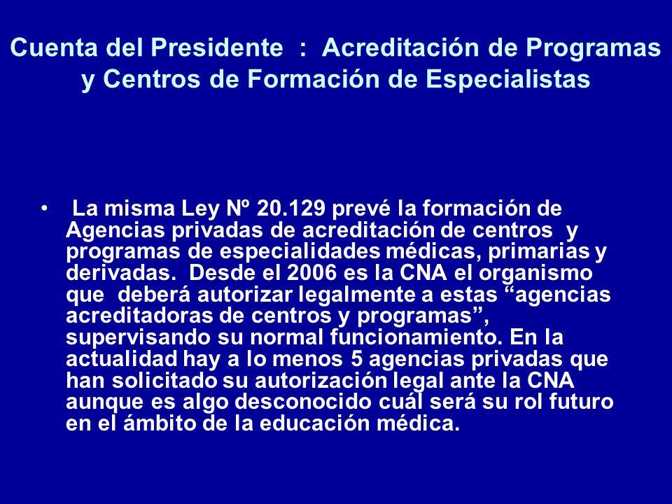 Cuenta del Presidente : Acreditación de Programas y Centros de Formación de Especialistas