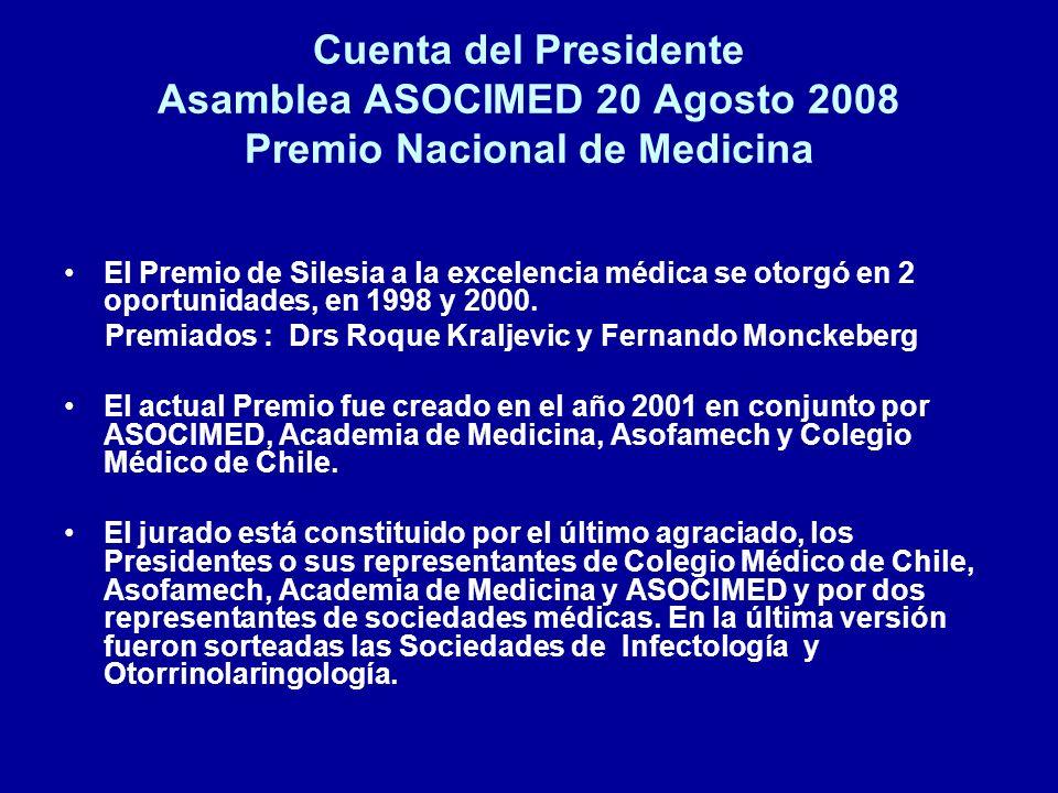 Cuenta del Presidente Asamblea ASOCIMED 20 Agosto 2008 Premio Nacional de Medicina