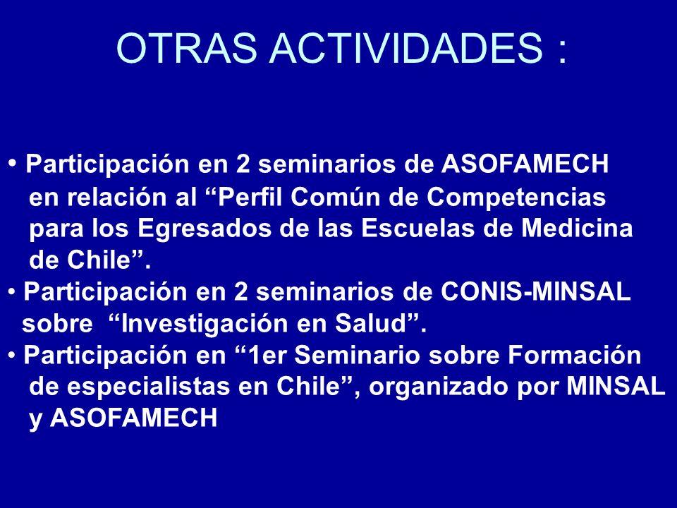 OTRAS ACTIVIDADES : Participación en 2 seminarios de ASOFAMECH