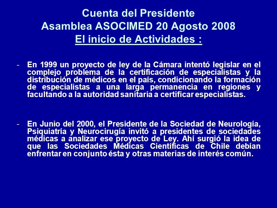 Cuenta del Presidente Asamblea ASOCIMED 20 Agosto 2008 El inicio de Actividades :
