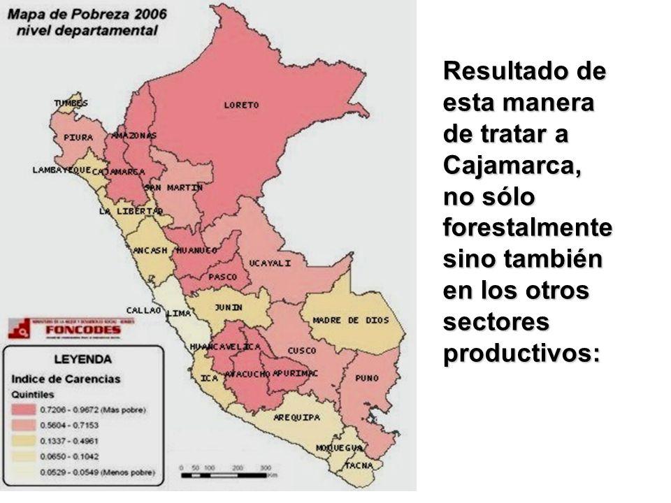 Resultado de esta manera de tratar a Cajamarca, no sólo forestalmente sino también en los otros sectores productivos: