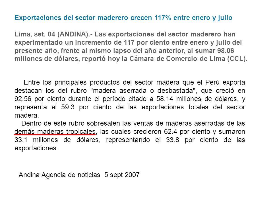 Exportaciones del sector maderero crecen 117% entre enero y julio Lima, set. 04 (ANDINA).- Las exportaciones del sector maderero han experimentado un incremento de 117 por ciento entre enero y julio del presente año, frente al mismo lapso del año anterior, al sumar 98.06 millones de dólares, reportó hoy la Cámara de Comercio de Lima (CCL).