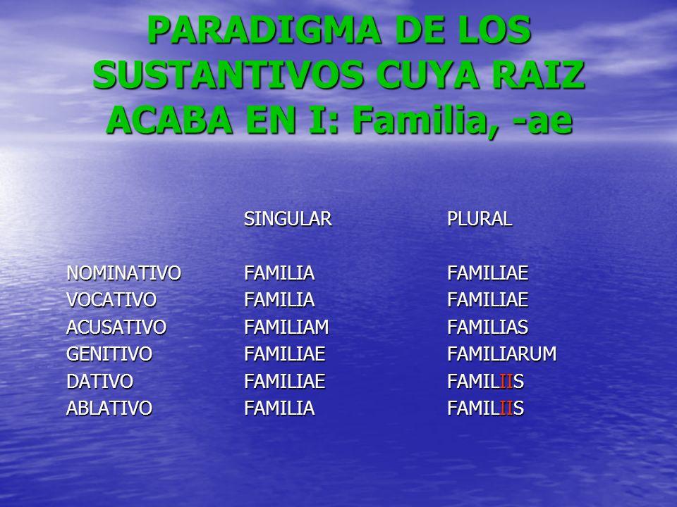 PARADIGMA DE LOS SUSTANTIVOS CUYA RAIZ ACABA EN I: Familia, -ae