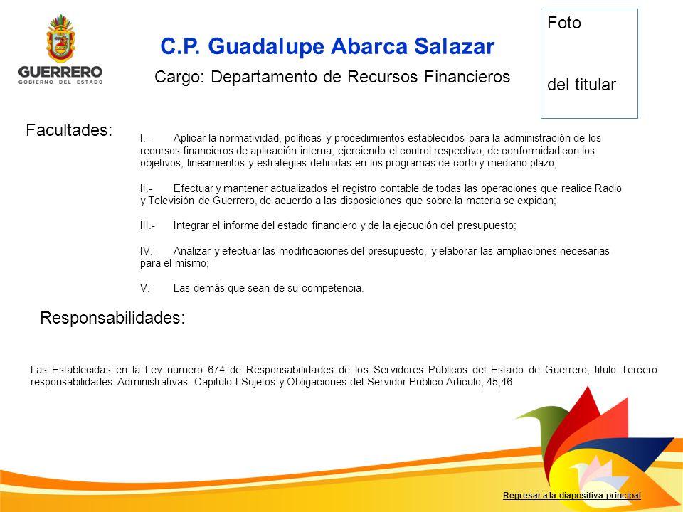 C.P. Guadalupe Abarca Salazar