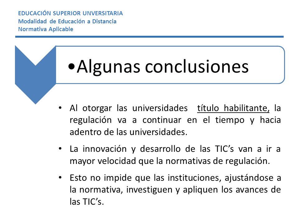 EDUCACIÓN SUPERIOR UNVERSITARIA Modalidad de Educación a Distancia Normativa Aplicable