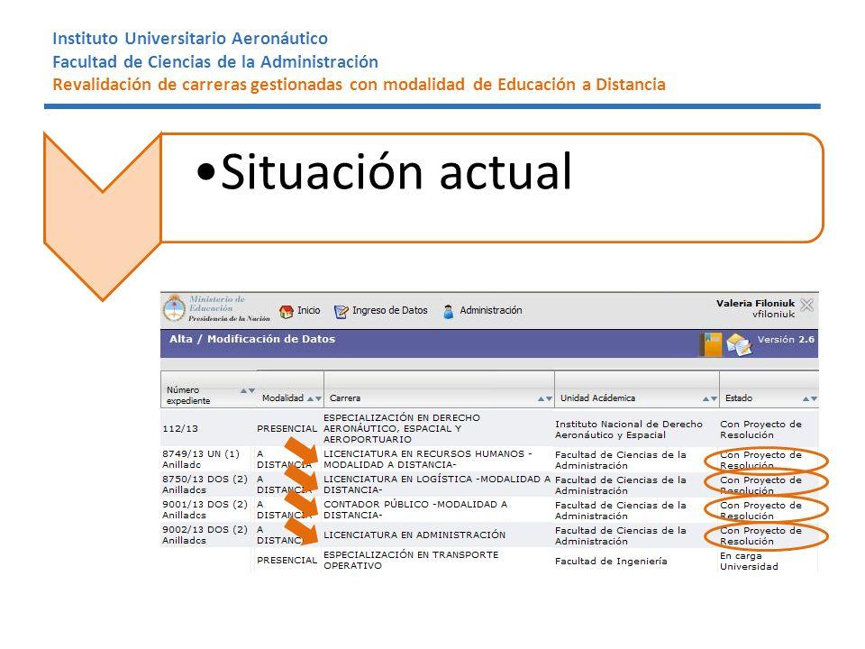 Instituto Universitario Aeronáutico Facultad de Ciencias de la Administración Revalidación de carreras gestionadas con modalidad de Educación a Distancia