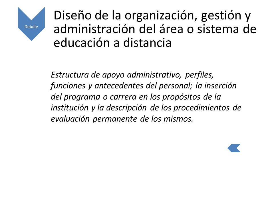 Detalle Diseño de la organización, gestión y administración del área o sistema de educación a distancia.