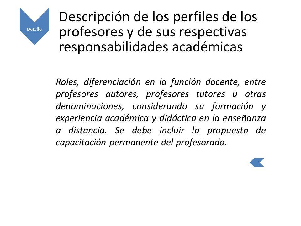 Detalle Descripción de los perfiles de los profesores y de sus respectivas responsabilidades académicas.