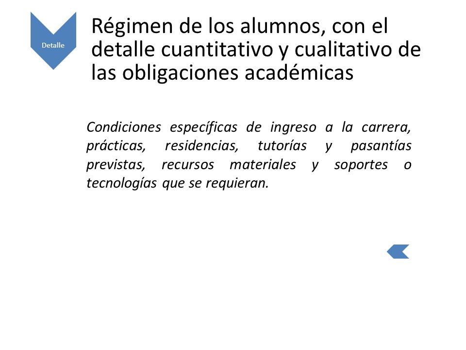 Detalle Régimen de los alumnos, con el detalle cuantitativo y cualitativo de las obligaciones académicas.