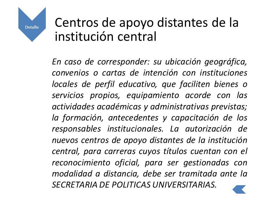 Centros de apoyo distantes de la institución central
