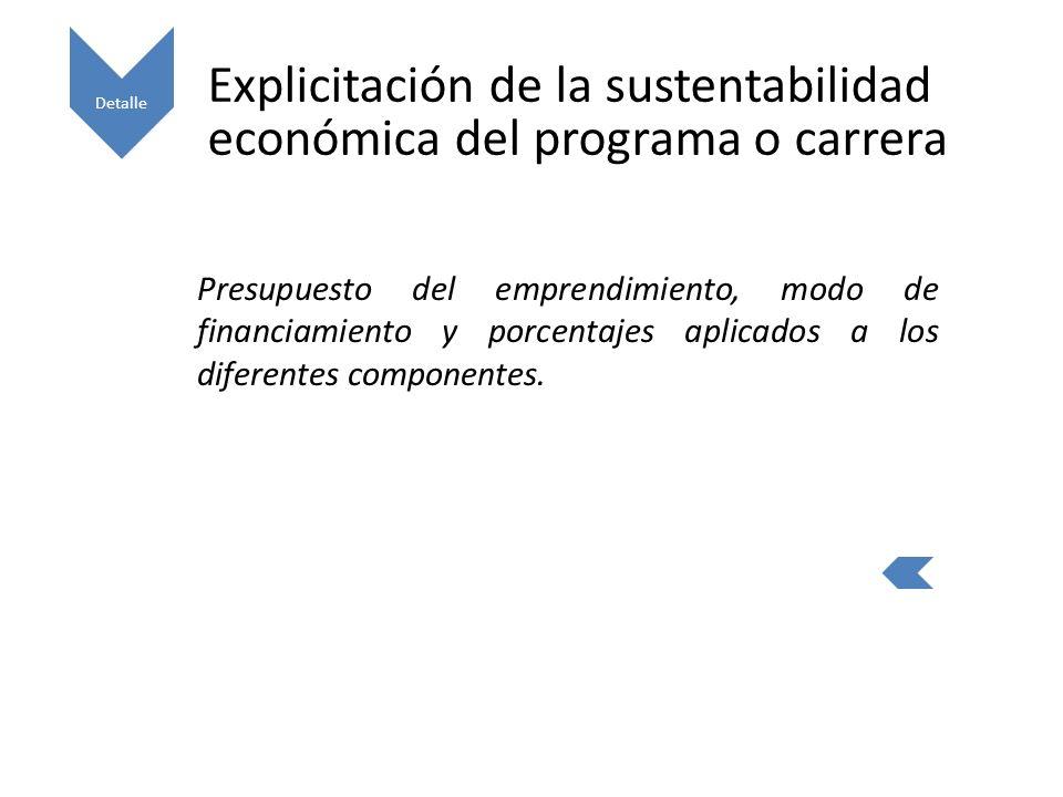 Explicitación de la sustentabilidad económica del programa o carrera