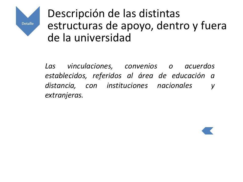 Detalle Descripción de las distintas estructuras de apoyo, dentro y fuera de la universidad.