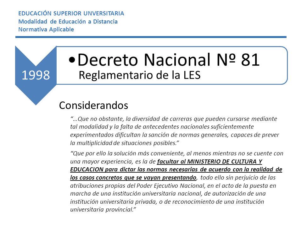 Decreto Nacional Nº 81 1998 Reglamentario de la LES Considerandos
