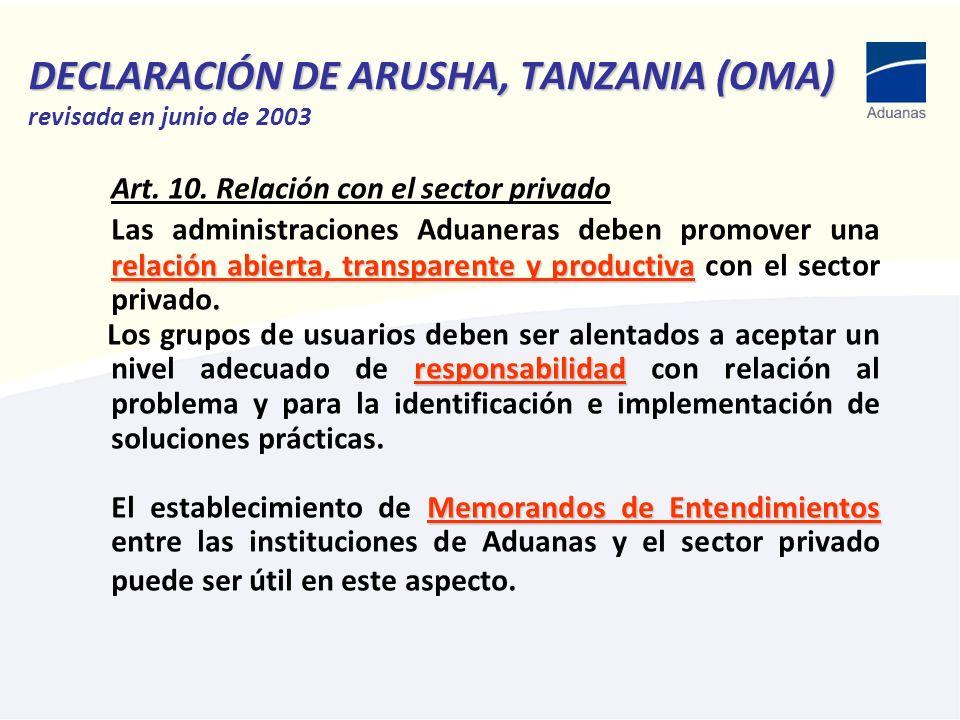 DECLARACIÓN DE ARUSHA, TANZANIA (OMA) revisada en junio de 2003