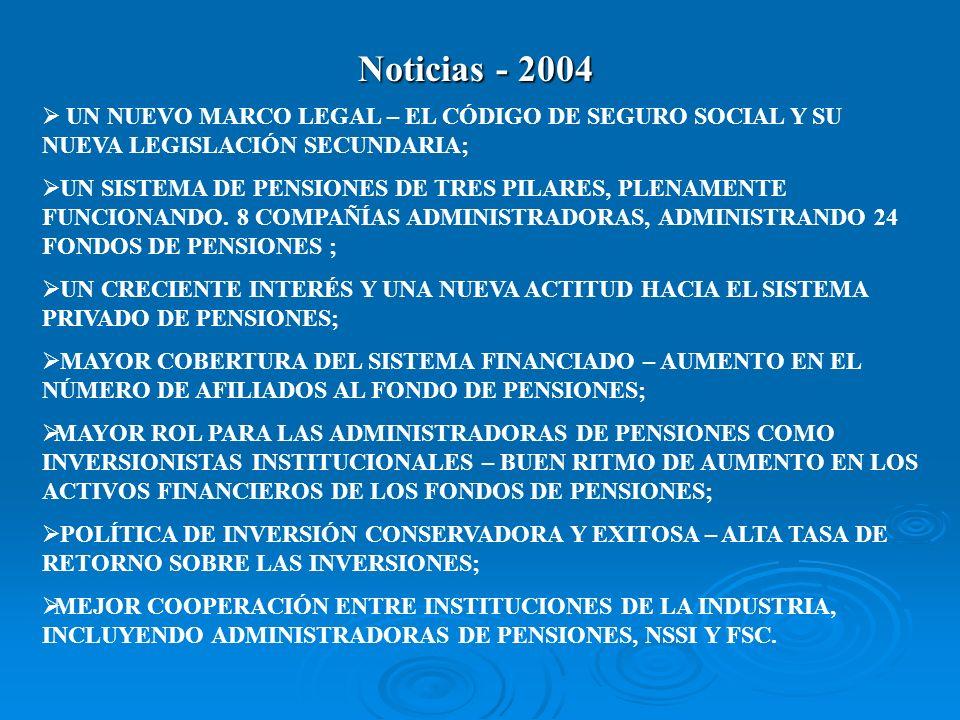 Noticias - 2004 UN NUEVO MARCO LEGAL – EL CÓDIGO DE SEGURO SOCIAL Y SU NUEVA LEGISLACIÓN SECUNDARIA;