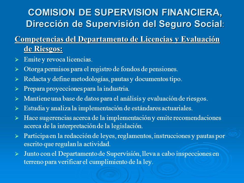 COMISION DE SUPERVISION FINANCIERA, Dirección de Supervisión del Seguro Social:
