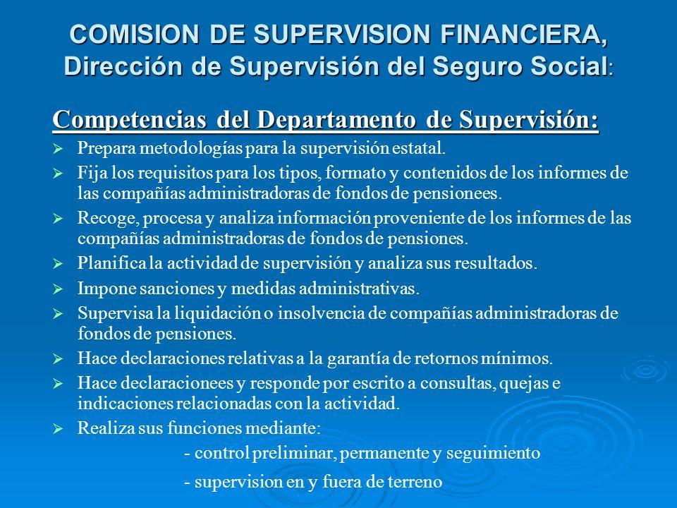 Competencias del Departamento de Supervisión: