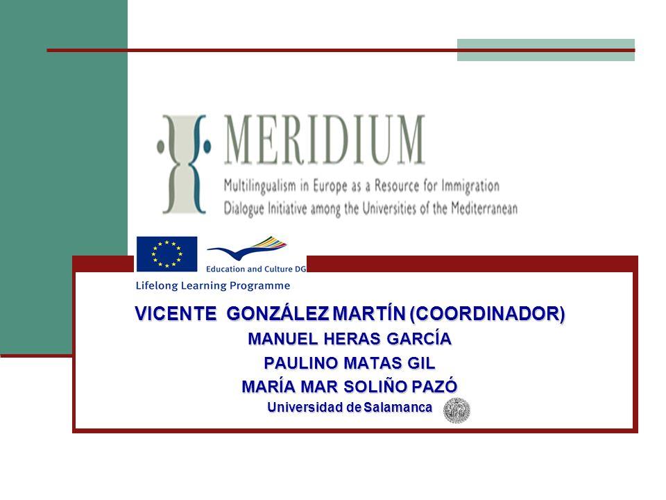 VICENTE GONZÁLEZ MARTÍN (COORDINADOR) Universidad de Salamanca