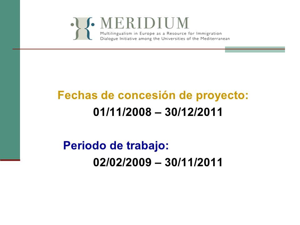 Fechas de concesión de proyecto: