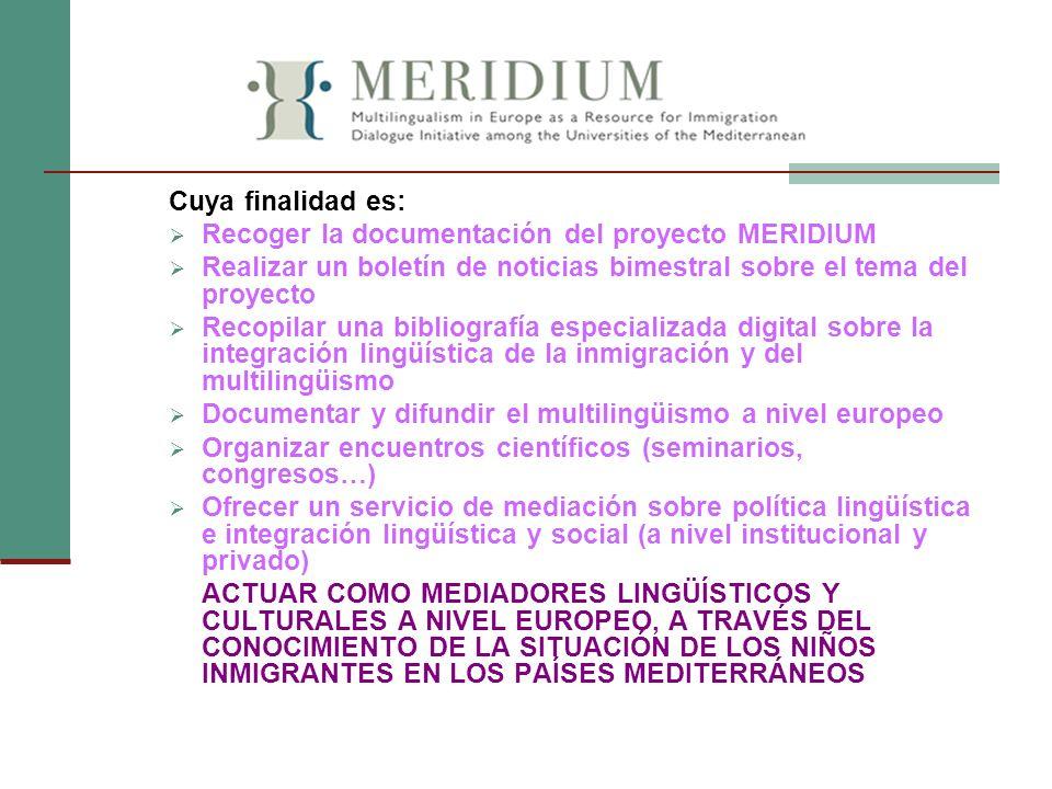 Cuya finalidad es: Recoger la documentación del proyecto MERIDIUM. Realizar un boletín de noticias bimestral sobre el tema del proyecto.
