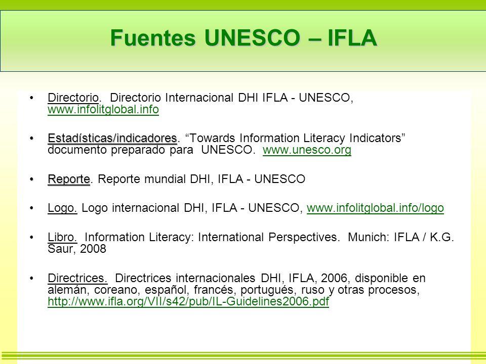Fuentes UNESCO – IFLA Directorio. Directorio Internacional DHI IFLA - UNESCO, www.infolitglobal.info.