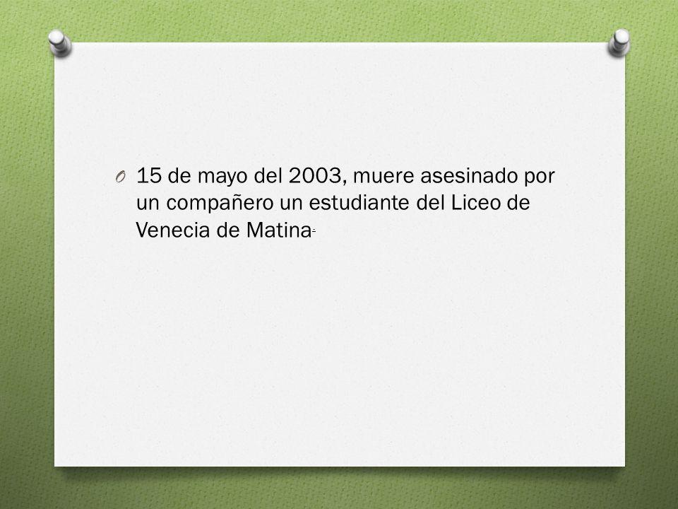 15 de mayo del 2003, muere asesinado por un compañero un estudiante del Liceo de Venecia de Matina.
