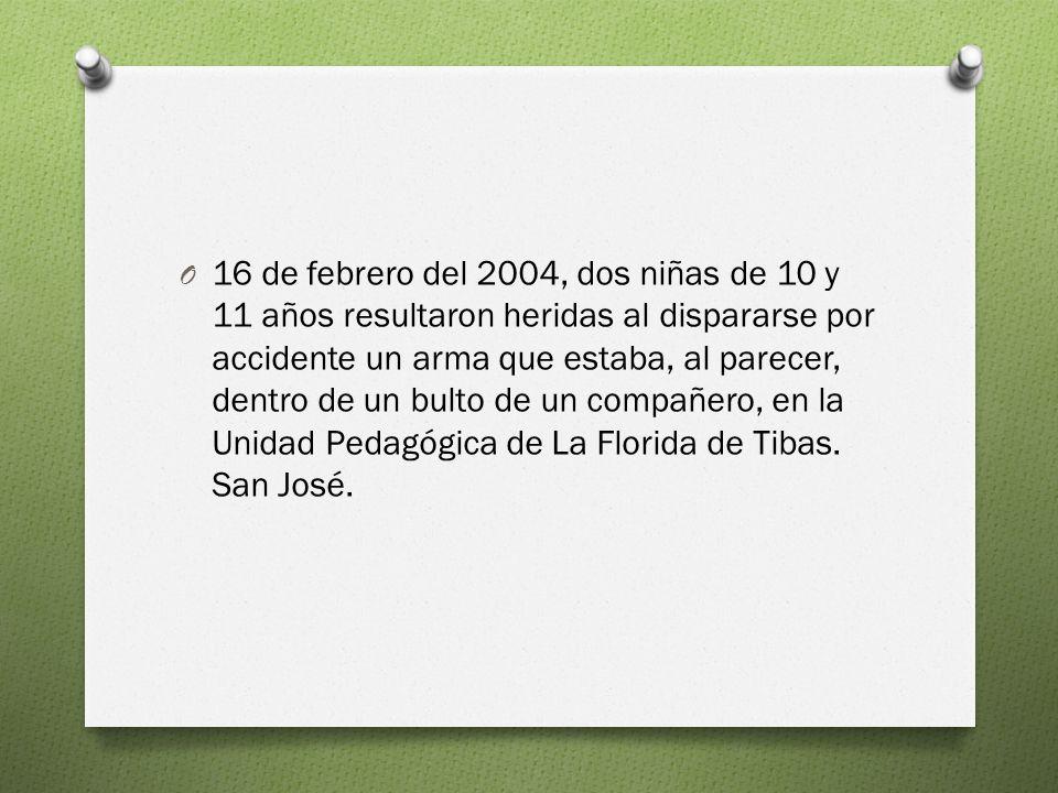 16 de febrero del 2004, dos niñas de 10 y 11 años resultaron heridas al dispararse por accidente un arma que estaba, al parecer, dentro de un bulto de un compañero, en la Unidad Pedagógica de La Florida de Tibas.