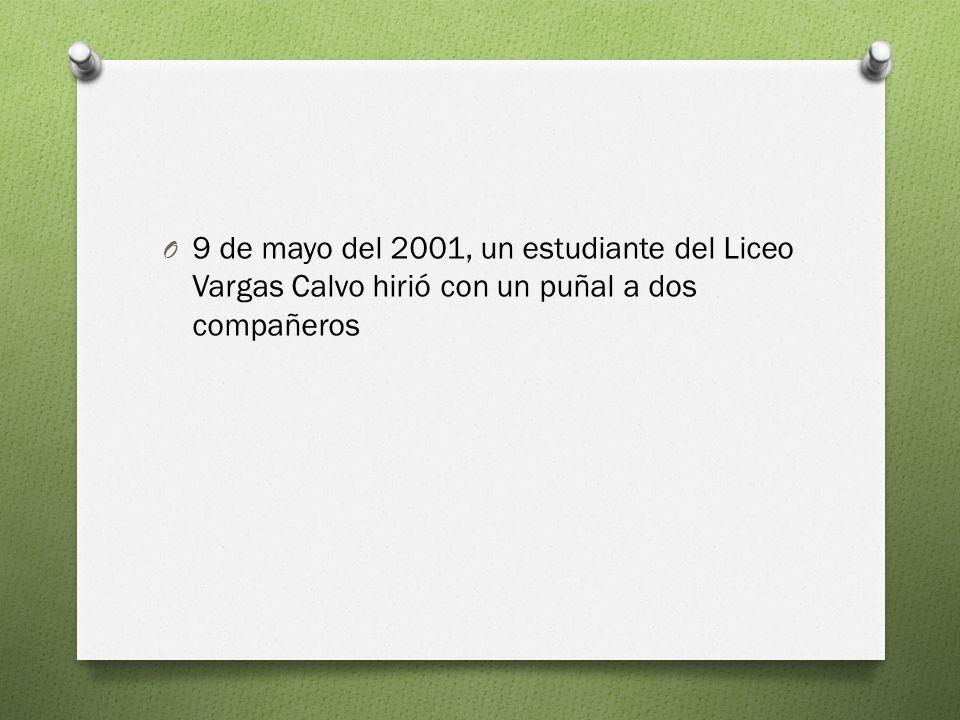 9 de mayo del 2001, un estudiante del Liceo Vargas Calvo hirió con un puñal a dos compañeros