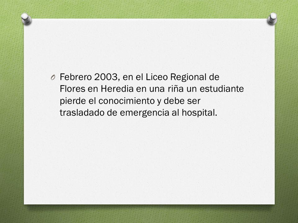 Febrero 2003, en el Liceo Regional de Flores en Heredia en una riña un estudiante pierde el conocimiento y debe ser trasladado de emergencia al hospital.