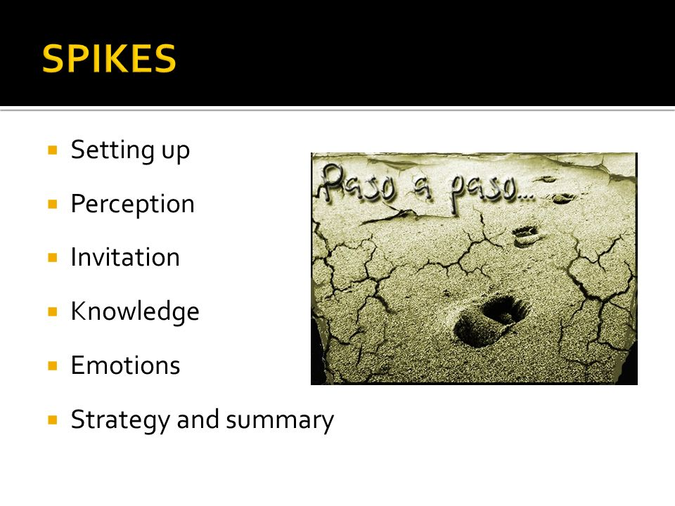SPIKES Setting up Perception Invitation Knowledge Emotions
