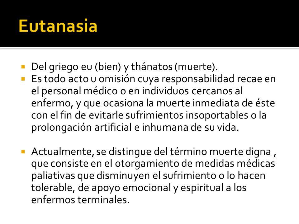 Eutanasia Del griego eu (bien) y thánatos (muerte).