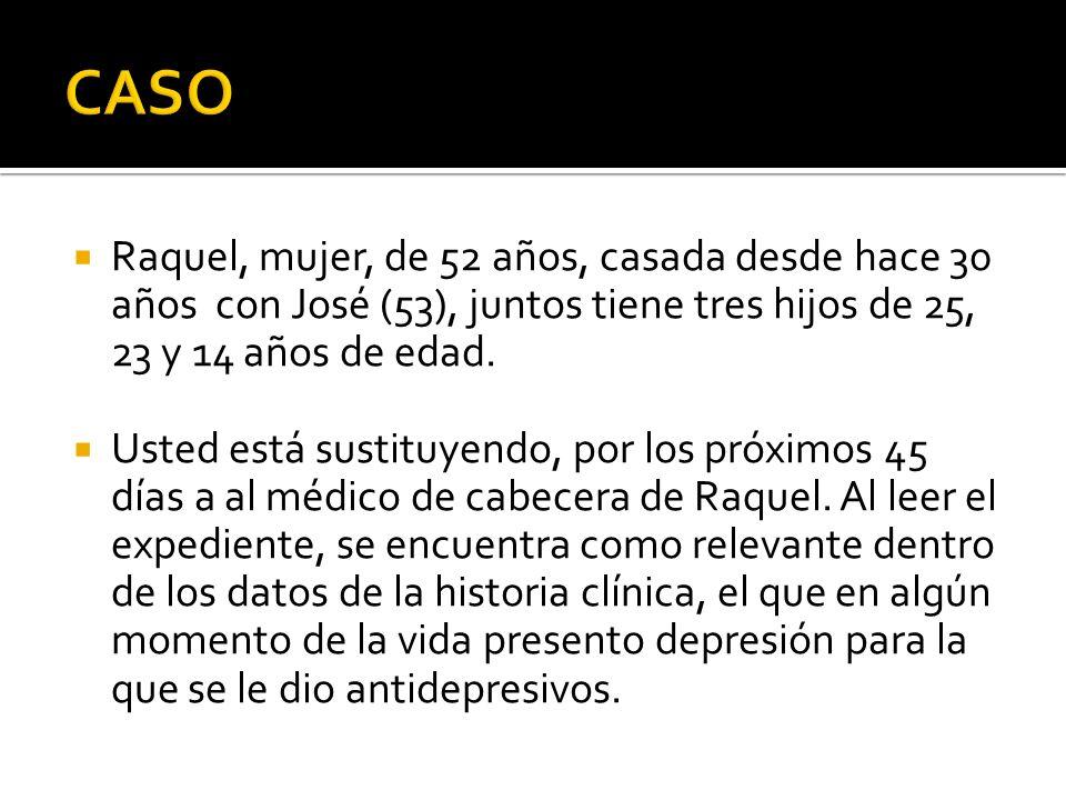 CASO Raquel, mujer, de 52 años, casada desde hace 30 años con José (53), juntos tiene tres hijos de 25, 23 y 14 años de edad.