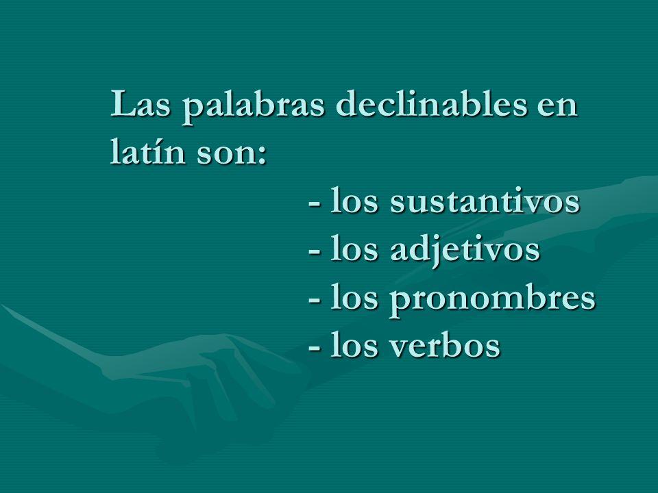 Las palabras declinables en. latín son:. - los sustantivos