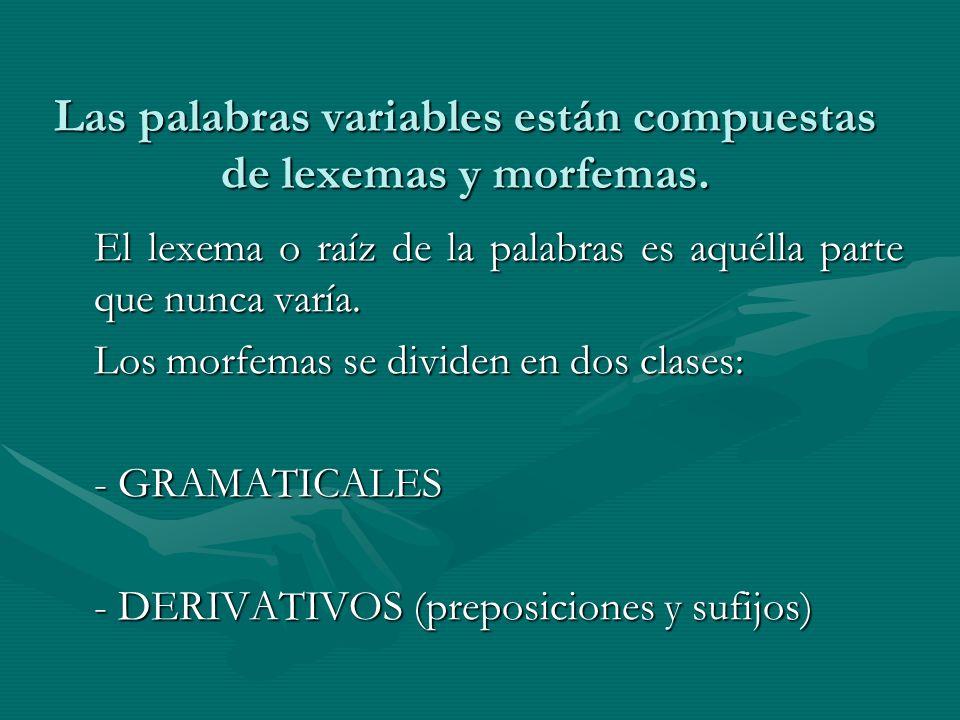 Las palabras variables están compuestas de lexemas y morfemas.
