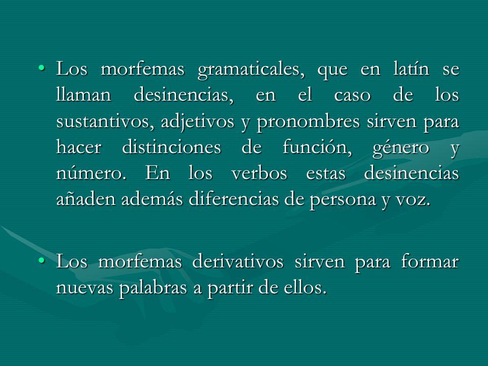 Los morfemas gramaticales, que en latín se llaman desinencias, en el caso de los sustantivos, adjetivos y pronombres sirven para hacer distinciones de función, género y número. En los verbos estas desinencias añaden además diferencias de persona y voz.