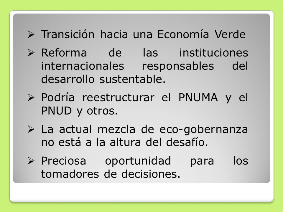 Transición hacia una Economía Verde
