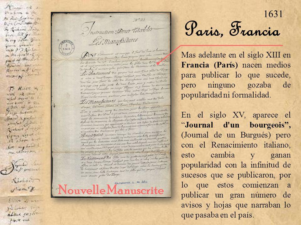 Paris, Francia Nouvelle Manuscrite 1631