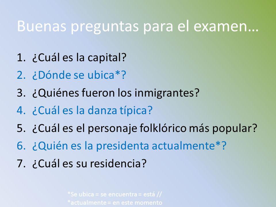Buenas preguntas para el examen…