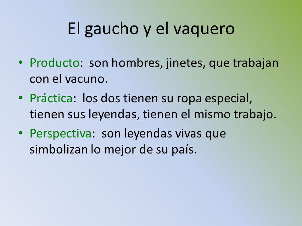 El gaucho y el vaquero Producto: son hombres, jinetes, que trabajan con el vacuno.
