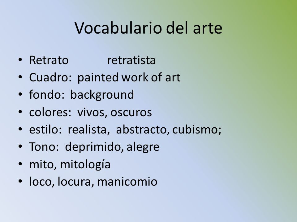 Vocabulario del arte Retrato retratista Cuadro: painted work of art