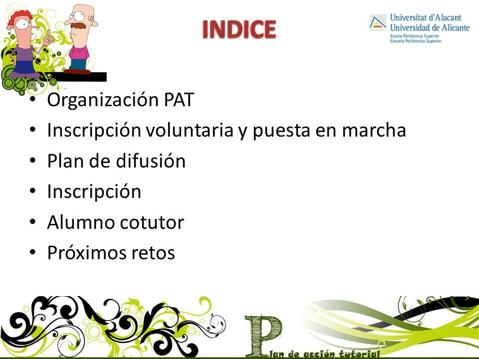 INDICE Organización PAT Inscripción voluntaria y puesta en marcha