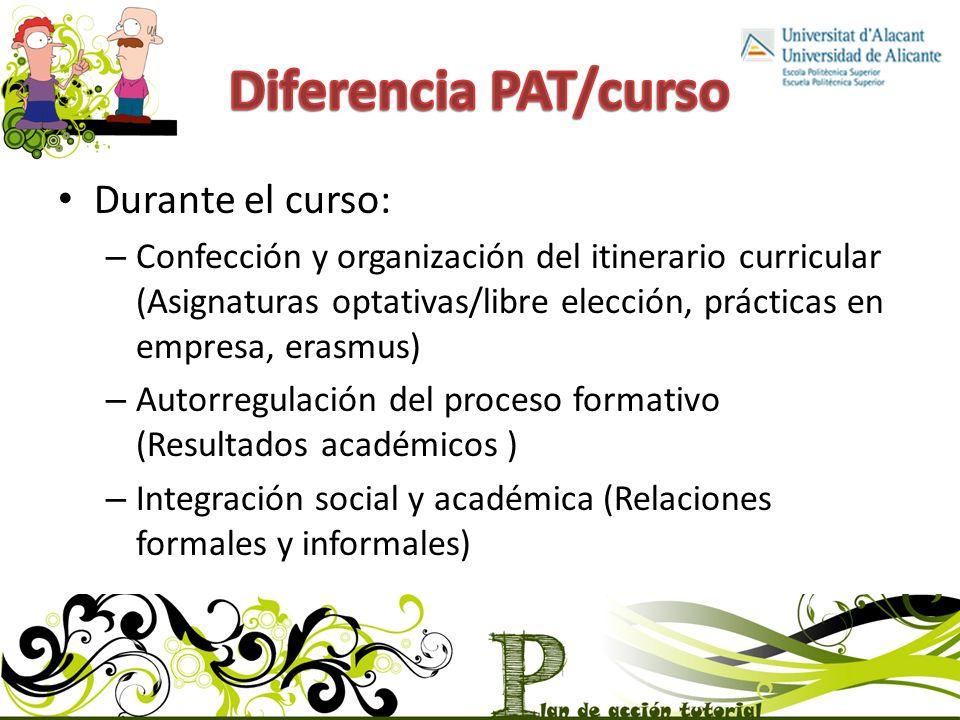 Diferencia PAT/curso Durante el curso: