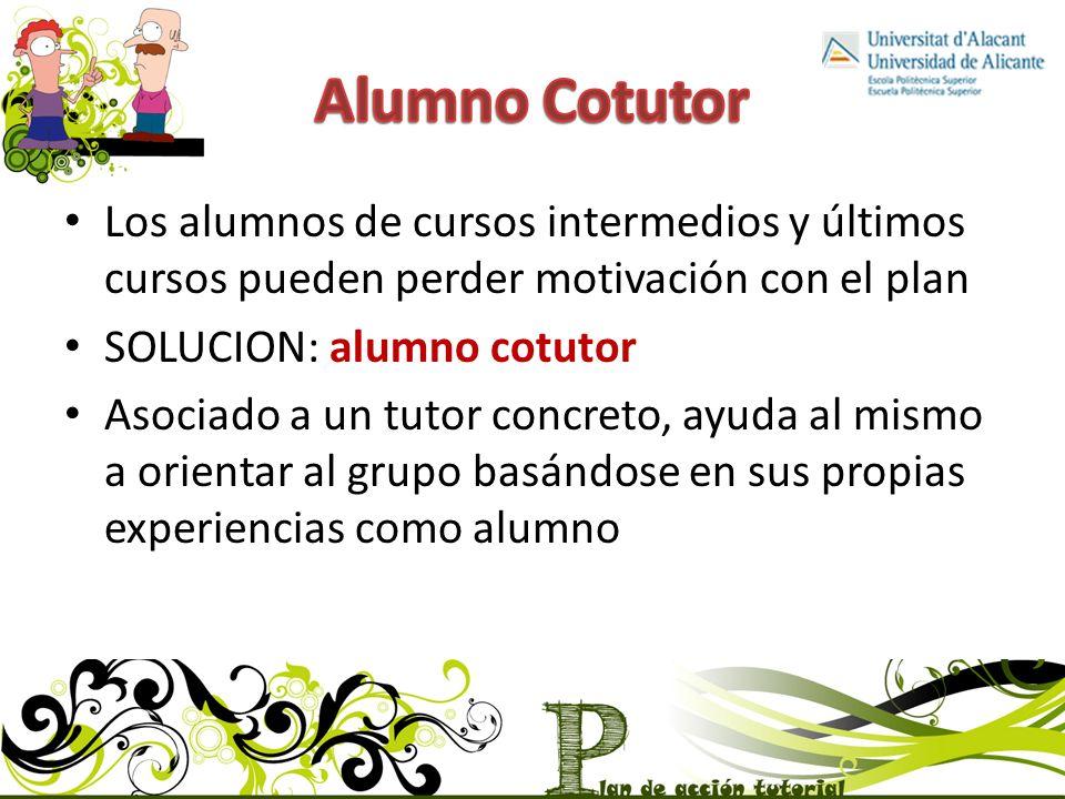 Alumno Cotutor Los alumnos de cursos intermedios y últimos cursos pueden perder motivación con el plan.