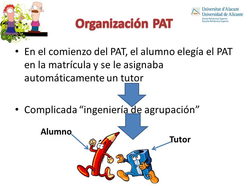 Organización PAT En el comienzo del PAT, el alumno elegía el PAT en la matrícula y se le asignaba automáticamente un tutor.